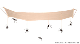 Plafond decoratie met spinnen 310 cm lang (54639E)
