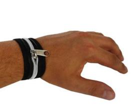 lederlook armband met rits (60863E)