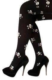 Panty piraat/skull zwart/wit one size (11095P)