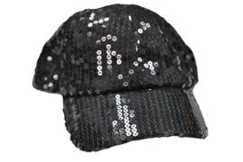 Cap pailletten zwart verstelbaar (23081GF)
