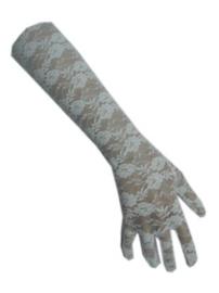 Handschoenen kant - lang Wit (12109P)