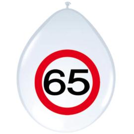 Ballonnen 65 jaar verkeersbord (30cm, 8 stuks)