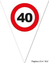 Vlaggenlijn 40 jaar Verkeersbord - 5 meter (84486E)