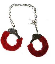 Enkel handboeien rode pluche (60416E)
