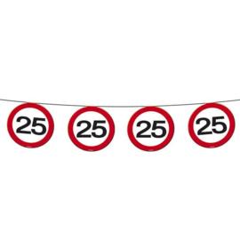 Vlaggenlijn 25 jaar Verkeersbord - 12  meter (05174F)