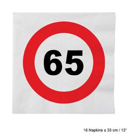 Servetten verkeersbord 65 jaar (84623E)