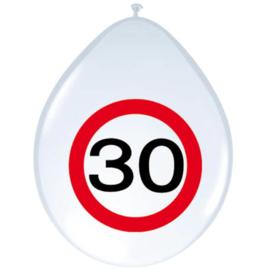 Ballonnen 30 jaar verkeersbord (30cm, 8 stuks)