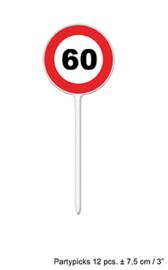 Cocktailprikkers / kaasprikkers verkeersbord 60 jaar (84412E)