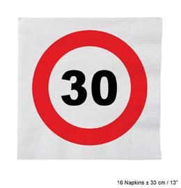 Servetten verkeersbord 30 jaar (84611E)