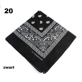Bandana / boerenzakdoek Zwart (100% katoen - 020)