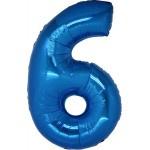Folie Cijfer 6 - 100 cm Blauw