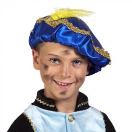 Piet baret Blauw met veer (56507B)