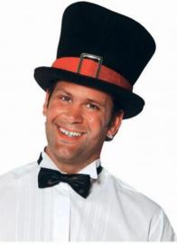 Hoge hoed Zwart/Rode band Maat 58 (206302F)