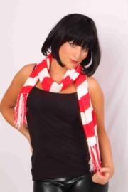 Sjaal rood/wit gestreept (96019P)