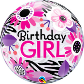 Bubble Birthday Girl Floral Zebra Stripes (13738Q)