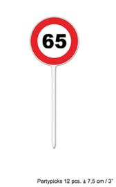 Cocktailprikkers / kaasprikkers verkeersbord 65 jaar (84413E)