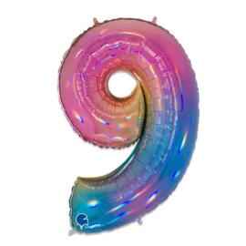 Folie Cijfer 9 - 100 cm Regenboog