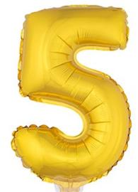Folie Cijfer 5 - 41 cm Goud (met stokje)