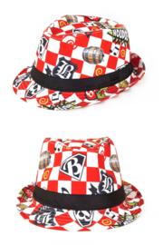 Brabant kojak hoedje rood wit geblokt houdoe (75319P)