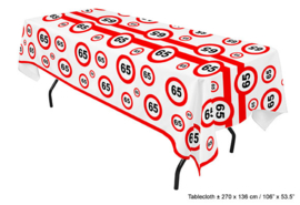 Tafelkleed verkeersbord 65 jaar (84645E)