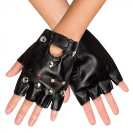 Zwarte handschoenen biker / punk (03150B)