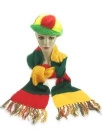 Sjaal rood/geel/groen gestreept (96054P)