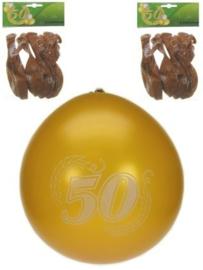 Jubileumballonnen 50 jaar goud -  8 stuks (90106P)