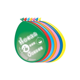 Ballonnen Hoera een Jongen - mix (30cm, 8 stuks)