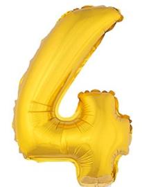 Folie Cijfer 4 - 41 cm Goud (met stokje)