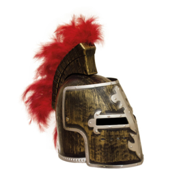 Helm ridder goudkleurig met veren (52316E)