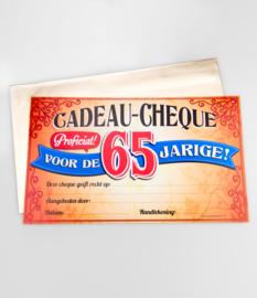 Cadeau-cheque 65 JAAR! (22PD)