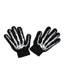 Handschoenen zwart skelet KIND (60364E)