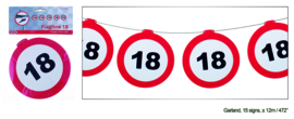 Vlaggenlijn 18 jaar Verkeersbord - 12  meter (84967E)