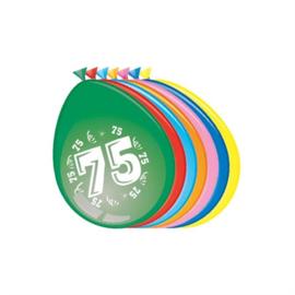 Ballonnen 75 jaar (30cm, 8 stuks)