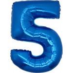 Folie Cijfer 5 - 100 cm Blauw