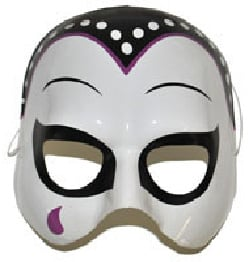 Halfmasker zwart/wit met traan (61376E)