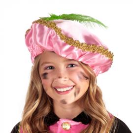 Piet baret Roze met veer (56507B)