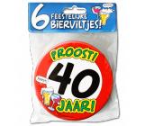 Bierviltjes verkeersbord 40 jaar - 6 stuks