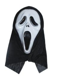 Plastic masker Scream met zwarte doek (61116E)