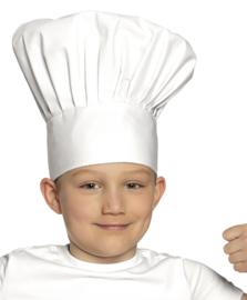 Witte koksmuts Kind chef de luxe (01405B)