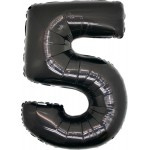 Folie Cijfer 5 - 100 cm Zwart
