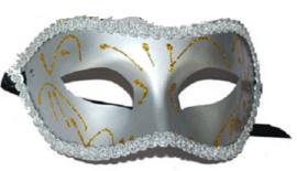 Halfmasker Zilver met versiering (61691E)