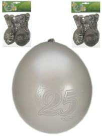Jubileumballonnen 25 jaar zilver -  8 stuks (90105P)