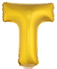 Folie Letter T - 41 cm Goud (met stokje)