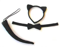 Katten set zwart pluche (57094E)
