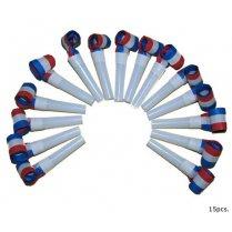 Roltongen / uitblazers rood wit blauw - 15 stuks (66099E)