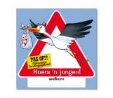 Huldeschild verkeersbord 'Hoera, een jongen!'
