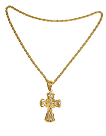 Gouden ketting Kruis en zilveren inleg  (53446E)