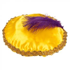 Piet baret Geel met veer (56507B)