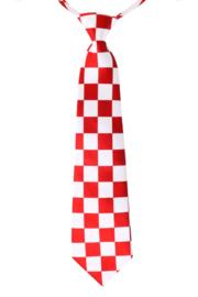 Stropdas brabants bont rood/wit geblokt (14474P)